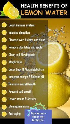 Health Benefits of Drinking lemon Water. When to drink lemon water for weight loss. Drinking lemon water in the morning. Weight loss detox d Lemon Water Benefits, Lemon Health Benefits, Health And Nutrition, Health And Wellness, Health Tips, Nutrition Jobs, Weight Loss Detox, Weight Loss Drinks, Lose Weight