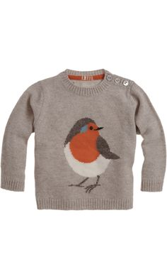 Love this robin on a sweater... I don't knit but it would be a cute applique.