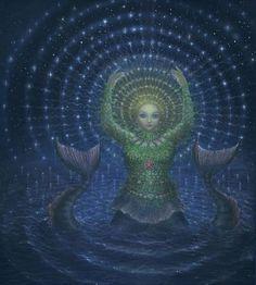 The sea goddess Atargatis, by Virginia Lee, for Ari Berk's The Secret History of Mermaids