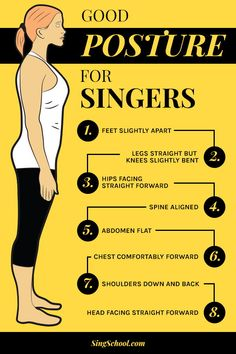 Good posture for singers Feet slightly apart Legs straight but knees slightly bent Hips facing straight forward Spine aligned Abdomen flat Chest comfortably forward Shoulders down and back Head facing straight forward Vocal Lessons, Singing Lessons, Singing Tips, Music Lessons, Singing Exercises, Vocal Exercises, Vocal Warmups, Singing Techniques, The Voice