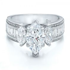 Custom Three Stone Marquise and Baguette Diamond Engagement Ring