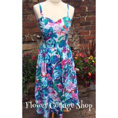 Vintage 50s/60s Style Large Floral Marion Donaldson Boned Summer Dress Sz 8