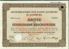 Aktienbrauerei zum Hasen Augsburg in Augburg 100 RM 1935