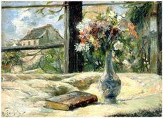 Paul GAUGUIN (Paris, 1848 - Atuona, 1903) Vase de fleurs à la fenêtre Huile sur toile