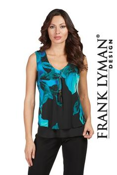 c72d930d76 Frank Lyman 2017. Stylish floral crepe knit top in very flattering  silhouette. Proudly Made