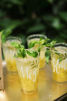 Personalized glassware wedding favors | Tune in to the Wedding Planning Podcast special Wedding Favors episodes | www.weddingplanningpodcast.co | Photo by Tasha Rae Photography