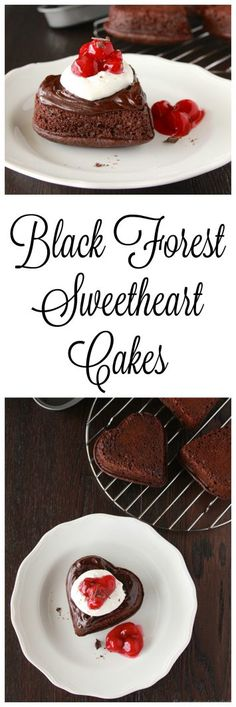Black Forest Sweetheart Cakes are impressive enough to please the foodies in your life!  Share the love! on www.cookingwithru...