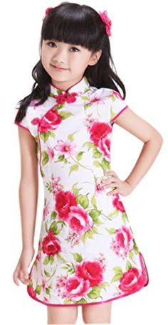 Suimiki Girls Kids Flower Floral Pattern Chinese Qipao Cheongsam Dress A10 * See this great product.