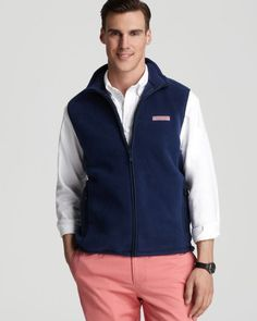 This soft fleece Vineyard Vines vest lends a lightweight layer for chilly weekends. | Polyester | Machine wash | Imported | Fits true to size, order your normal size   | Cut for a classic fit with ext