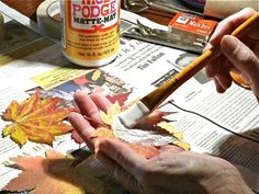 TO DO: Mod Podge Preserve Fall Leaves - Wow