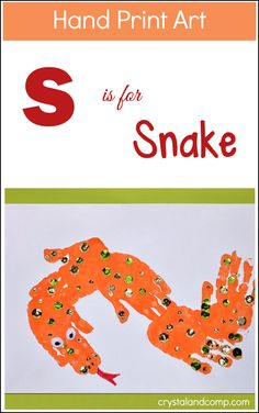 Looking for a fun craft to go with the letter S? How about an S is for Snake hand print art craft?!