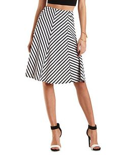 Striped Full Midi Skirt: Charlotte Russe