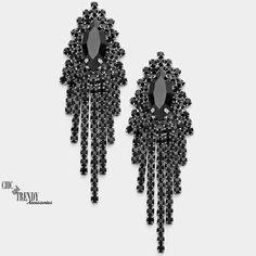 BLACK RHINESTONE FRINGE CRYSTAL EARRINGS PROM WEDDING FORMAL CHIC TRENDY JEWELRY #Unbranded #Chandelier