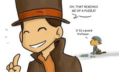 Professor Layton with Luke's puzzle