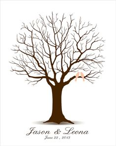 Wedding Tree Guest Book - Printable PDF File - Digital Fingerprint Signature Tree - Custom color, size, text and language