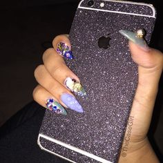 """GlamourVintageBrecha  on Instagram: """"When your boo sends you a LIT photo rocking your """"Mega Glitter Sticker"""" in Black Cement  Tag a friend that needs this  #NailsPoppin #CasedUpGang   Get yours at ✨✨www.thecasegirl.com✨✨"""""""