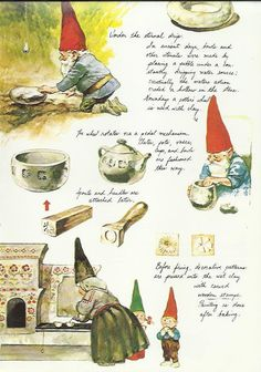 Gnome Tools Pottery Clay Elfs Elves Baby Kids Childrens Art Colour Print 1977 Poortvliet Nursery Decor Kids Wall Art Baby Shower Gift