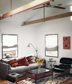 Love the space-saving touches and rustic modern charm of this cabin getaway.