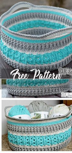 Excellent Absolutely Free Crochet basket easy Style The Sea Glass Basket – Pattern Free – Easy Crochet Free Crochet Bag, Crochet Purses, Crochet Home, Knit Or Crochet, Crochet Gifts, Knitting Patterns, Crochet Patterns, Crochet Ideas, Crochet Basket Pattern