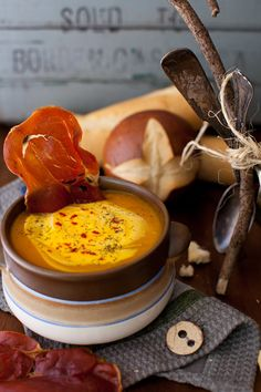 Spicy Cream of Pumpkin (Red Hubbard) Soup with Crispy Prosciutto
