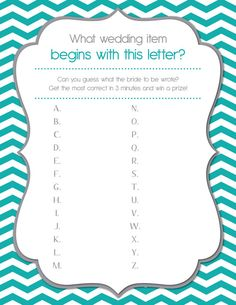Bridal Shower Game Printable A-Z Letter Guessing Game - Shower game that's Fun and Easy -other game options as well! Any color! Chevron teal
