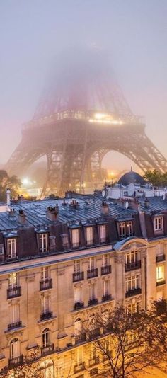 Paris rooftops with Eiffel Tower in the background.