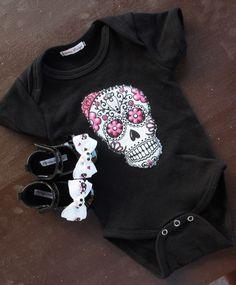 Skull /& Cross Bones Shoes Punk Alternative Rock Pink Blue Black Newborn Baby Fun