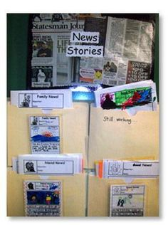 "News Stories: An engaging way to inspire narrative and opinion writing. Use wall space to organize news story templates. From ""Kindergarten Writing and the Common Core"" by Nellie Edge, Chapter Narrative Writing Kindergarten, Narrative Writing Prompts, Personal Narrative Writing, Writing Lessons, Kindergarten Literacy, Early Literacy, Teaching Writing, Teaching Ideas, Work On Writing"
