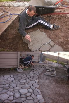 DIY – Do It Yourself Garden Path Ideas - Engineering Discoveries Backyard Projects, Backyard Patio, Garden Projects, Backyard Landscaping, Garden Paving, Garden Paths, Patio Design, Garden Design, Garden Stairs