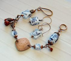 Blue and White Glass Beads with Antiqued by SandiFasanoDesigns on Etsy  $42.00