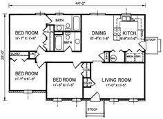 Resultado de imagen para 1200 square feet 1 story bungalow