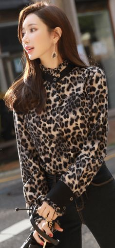 2096031c78a570 Brushed Leopard Print Button-Up Blouse
