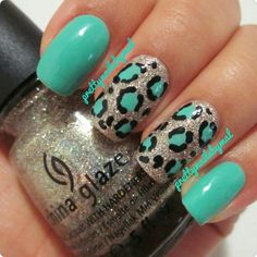 Teal leopard nails with silver glitter