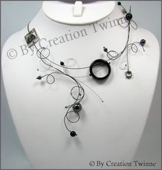 black gray statement swirls necklace, funky designs jewel,mother of the bride jewelry, cool fun neck Dainty Jewelry, Wedding Jewelry, Unique Jewelry, Fine Jewelry, Jewelry Design, Hippie Jewelry, Gothic Jewelry, Etsy Jewelry, Luxury Jewelry