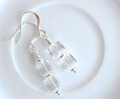 Crystal dangle earrings, crystal drop earrings, cube crystal earrings, Swarovski crystal earrings, clear crystal earrings, bridal jewelry