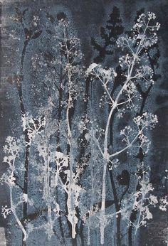 Un unique à la main 1/1 un dun genre Monotype original de fleurs de Yorkshire. Caille-lait Imprimés directement à partir de la plante par ma