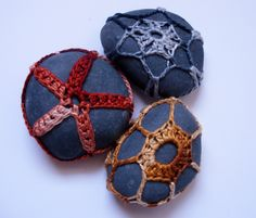★Cotton embroidery thread and stone ★Each measures approx. 2 inches long ★ Ready to ship!  This one-of-a-kind lace stone triple set features three smooth grey beach pebbles enhanced with hand-crocheted designs. The ombre shades of smoky grey, vermilion red and golden yellow-brown are evocativ...
