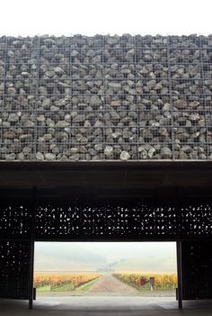 Herzog and de Meuron - Dominus Winery, Yountville, this is one of my favorite pieces of architecture. Gabion baskets filled with stone form the basis for the walls!