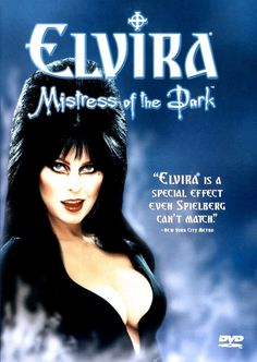 """""""You most certainly don't fit in this town. Why, you don't even fit in that dress."""" Elvira: Mistress of the Dark (1988) poster is smokin' #poster #horrorposters #horrorposter #horrorfreak"""