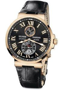 b4f52d1ec8a Men s Maxi Marine Automatic Chronometer Black Alligator Strap White Watches  For Men