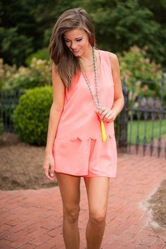 Bringing Sassy Back Romper, Neon Pink #sassy #neon #scalloped