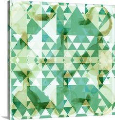 Geometry in Mint I mint, green, watercolor, illustration, artwork, art, abstract, geometric art, geometric, triangle art, canvas, contemporary, modern