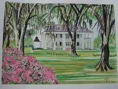 Drug Addiction and Alcohol treatment provider across Texas. Southern Plantation Homes, Southern Mansions, Southern Plantations, Watercolor Artwork, Watercolor Print, Southern Signs, Creole Cottage, Down South, Sign Printing