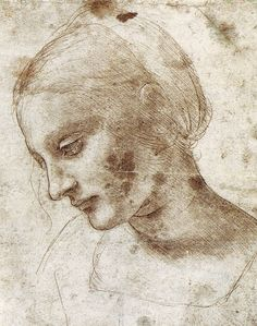 Leonardo da Vinci portrait drawing • Giovane Donna Leonardo da Vinci (1452 Apr15 – May2 1519) • Italian Renaissance polymath: painter / sculptor / architect / musician / mathematician / engineer / inventor / anatomist / geologist / cartographer / botanist / writer – the world's biggest ever genius Renaissance Man Übermensch?