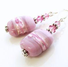 Pink glass bead earrings, pink lampwork earrings, pink earrings on Etsy, $13.47