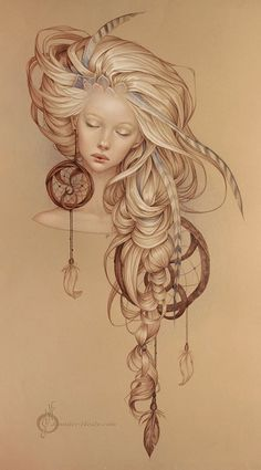"""Dream catcher"" - Jennifer Healy Type of drawing style I want for my Art nouveau girl"