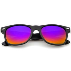 f0408f19f9 Matte Finish Color Mirror Lens Large Square Horn Rimmed Sunglasses 55mm