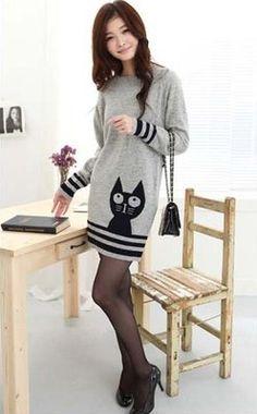 New Cute Korean Japanese Kitty Cat Dress Coat Grey Gray Hoodie Shirt Top Sweater | eBay