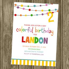 Items similar to Rainbow/Colorful/Art Birthday Party Invitation on Etsy Crayon Birthday Parties, Colorful Birthday Party, Art Birthday, Colorful Party, First Birthday Parties, Birthday Party Themes, Birthday Ideas, Rainbow Party Invitations, Birthday Invitations