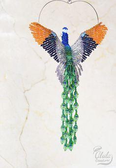Peacock Ornaments, Beaded Ornaments, Beading Projects, Beading Tutorials, Peacock Bird, Bead Sewing, Beading Patterns Free, Beaded Crafts, Beaded Animals